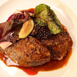 Roast Yorkshire grouse, Red Cabbage, Blackberry and Whiskey sauce