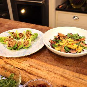 Halloumi Saganaki and Kisir, Spicy Bulgur in Lettuce Cups