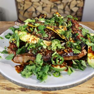 Korean Lamb chops with BBQ courgettes