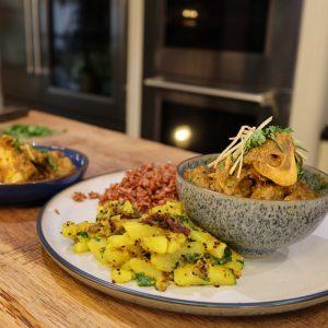 Bihar Style Lamb Curry, Pan fried Bihari Potatoes and Red Rice