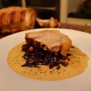 Slow Cooked Pork with Cabbage and Mustard Sauce