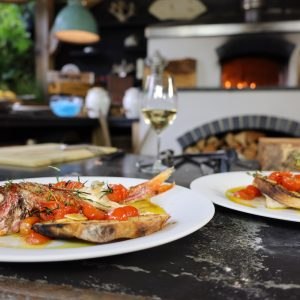 Red Mullet with Tomatoes on Toast and Whole Mullet Roasted with Tomatoes