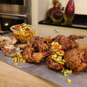 Partridge in a Bucket with Corn Relish