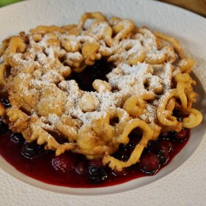 Funnel Cakes with Sloe Compote