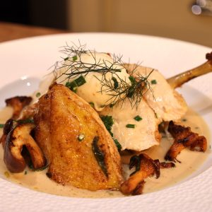 Chicken with Mushrooms, Wine Sauce and Poached Eggs