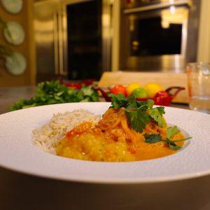 Macher Malaikari - (Fish in Coconut Milk) and Tamatar Bharta - (Smoky Mashed Tomatoes)