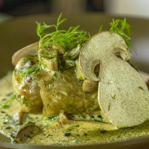 Buckwheat, Jerusalem Artichoke and Wild Mushrooms Stuffed Sauerkraut Leaf Baked in a Cream Sauce