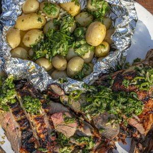 BBQ Lamb with Chimichurri Sauce and New Potatoes