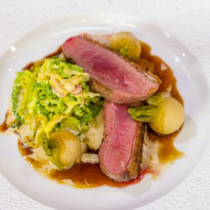 Honey Roast Cornish Duckling, Creamed Cabbage and Braised Turnips