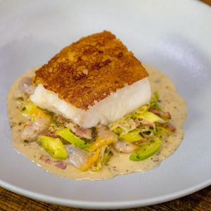 Cornish Cod on Toast with Leeks, Cockles and Laverbread