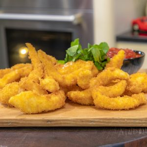 Fish Goujons with chilli jam
