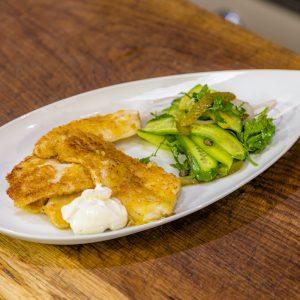 Lemon sole with cucumber salad