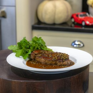 Sirloin Steak with Peppercorn Sauce