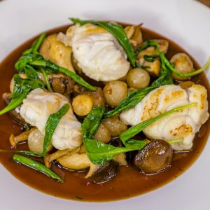 Monkfish with Bordelaise Sauce and Mushrooms