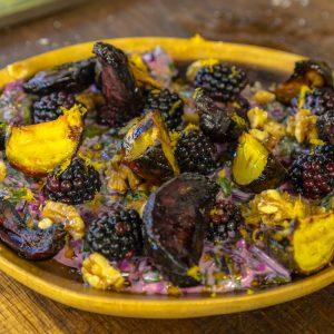 Beetroot Leaf Borani with Roasted Beets and Blackberries