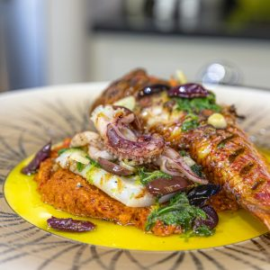 Red Mullet with Squid and Romesco Sauce