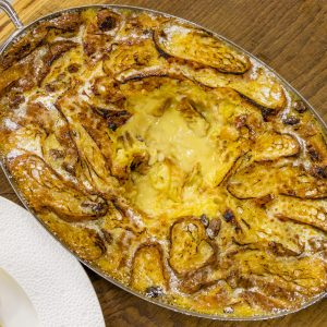White chocolate and whiskey croissant butter pudding