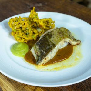 Roasted Cod with Curry Sauce, Mushy Peas with Potato and Pea Bhaji