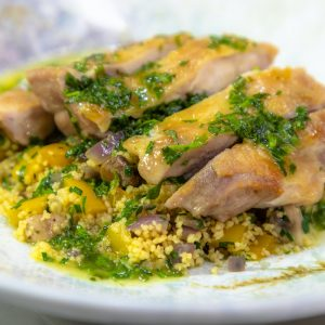Crispy Chicken Leg with Spiced Vegetable Couscous