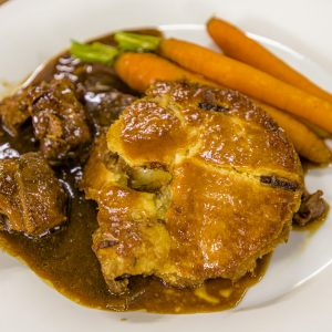Beef, onion and beer pie