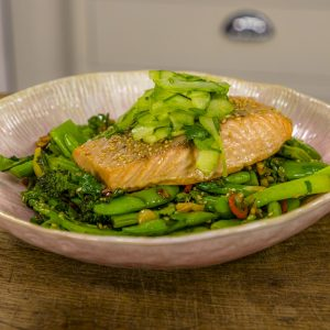 Salmon with Broccoli, Pak Choi, Beans and Sugar Snap Peas