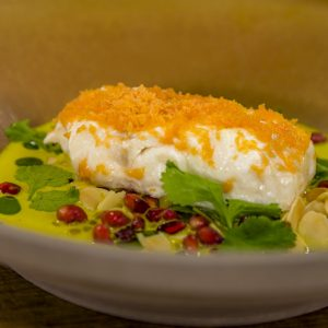 "North Sea Cod, Curried ""Pearls"" Pomegranate, Toasted Almonds"