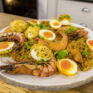 Prawn Biriyani with deep fried soft boiled eggs