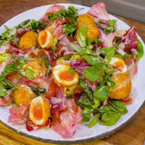 Deep-Fried Soft-Boiled Egg Salad with Speck and Asparagus