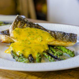 Seabass with Asparagus and Citrus Hollandaise Sauce