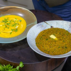 Dhal and Carrot Soup with Lentil Dhal
