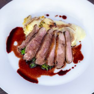 Maple Glazed Duck Breast, Turnip and Thyme Gratin
