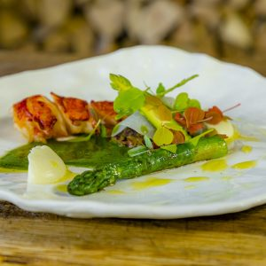 Grilled Cornish Lobster with Truffled Grains, Asparagus, Kohlrabi & Green Tomato