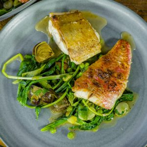 Gurnard with Seaweed and Vegetables