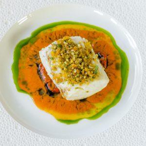 Baked North Sea Hake, Romantic Tomato, Lemon, Basil