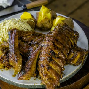 Ribs with Cider Sauce and Jacket Potatoes