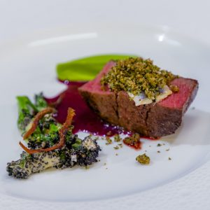 Confit Fillet of Yorkshire Beef, Purple Sprouting Anchovy Hollandaise, Broccoli Puree & Beurre Rouge