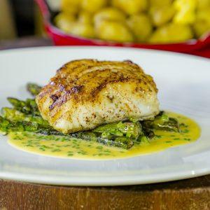 Cod, Jersey royals, asparagus with beurre blanc sauce