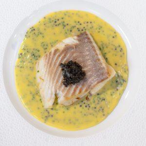 Pan fried turbot and beurre blanc caviar sauce