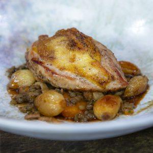 Roast Pheasant with Lentils, Button Onions and Lardons