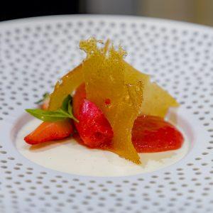 Gin Buttermilk Panna Cotta with Strawberries