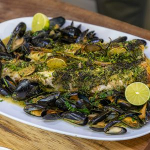 Monkfish and Mussels with Thai sauce
