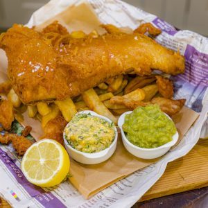 Fish and Chips with Mushy Peas and Tartare Sauce