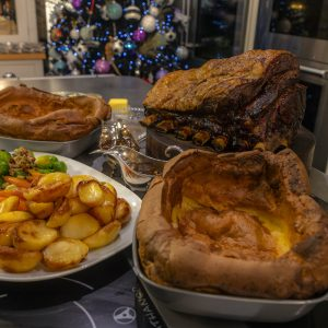 Roast Rib Beef, Yorkshire Puddings, Roast Potatoes and Veg