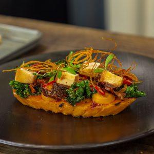 Griddled Sweet Potato, Chilli Marinated Tofu, Blood Orange And Kale