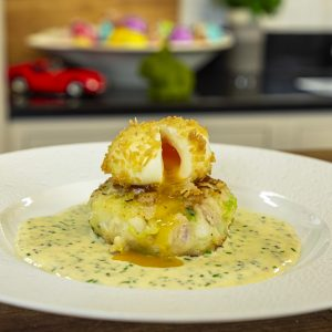 Haddock Fishcakes with Deep-Fried Soft-Boiled Egg and Mustard Cream sauce