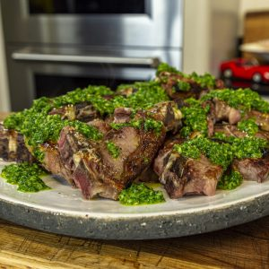 Lamb chops with Jabron potatoes, beans and herb salsa
