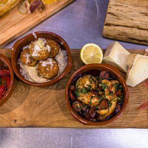 Chorizo and chicken tapas