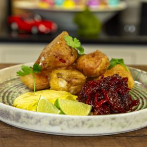 Lobster Fritters, Chilli Jam and Roasted Garlic Aioli