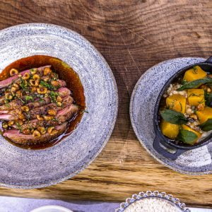 Roasted Sladesdown Duck, Squash, Sage and Confit Leg Risotto, Hazelnuts and Duck Gravy