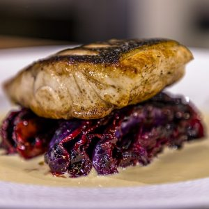 Red Cabbage, Seabass and Mustard Sauce